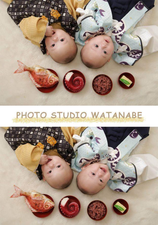 双子の赤ちゃん~百日記念撮影~